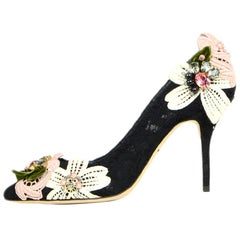Dolce & Gabbana Black Lace Decollete Pizzo Catania Floral Applique Pumps sz 39.5