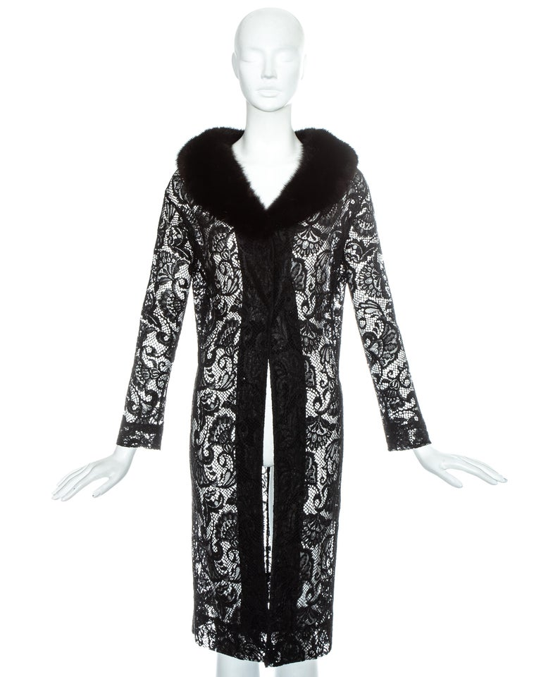 Dolce & Gabbana black lace evening coat with mink cur collar and detachable wool lining.  Fall-Winter 1997