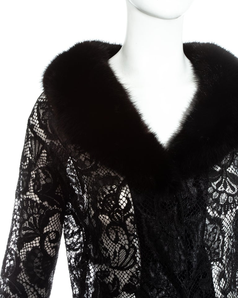 Women's Dolce & Gabbana black lace evening coat with mink fur collar, fw 1997 For Sale