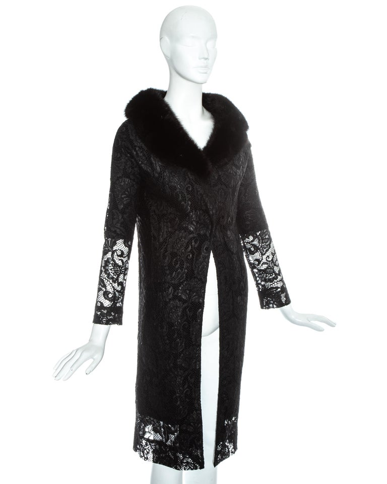 Dolce & Gabbana black lace evening coat with mink fur collar, fw 1997 For Sale 1