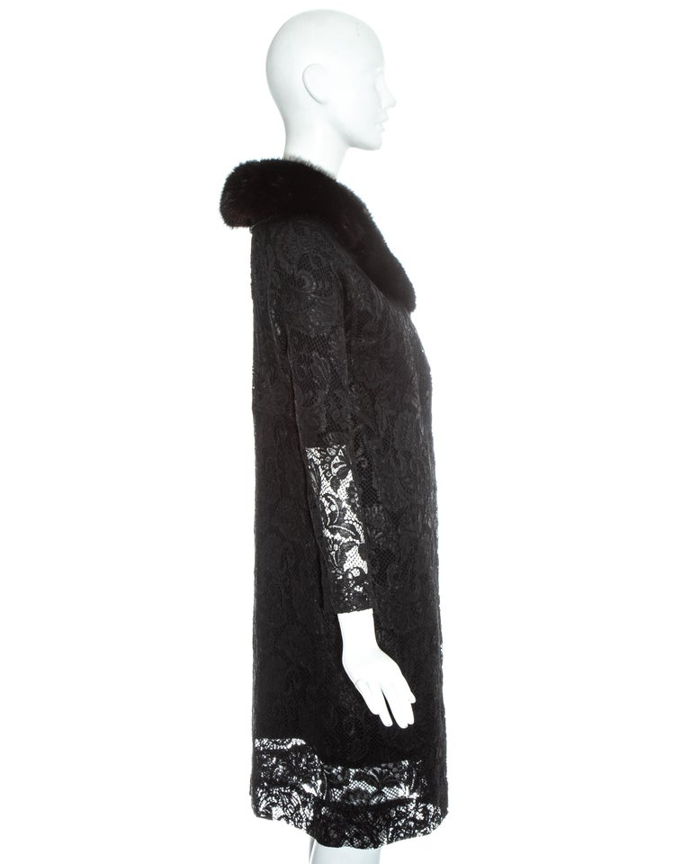 Dolce & Gabbana black lace evening coat with mink fur collar, fw 1997 For Sale 2