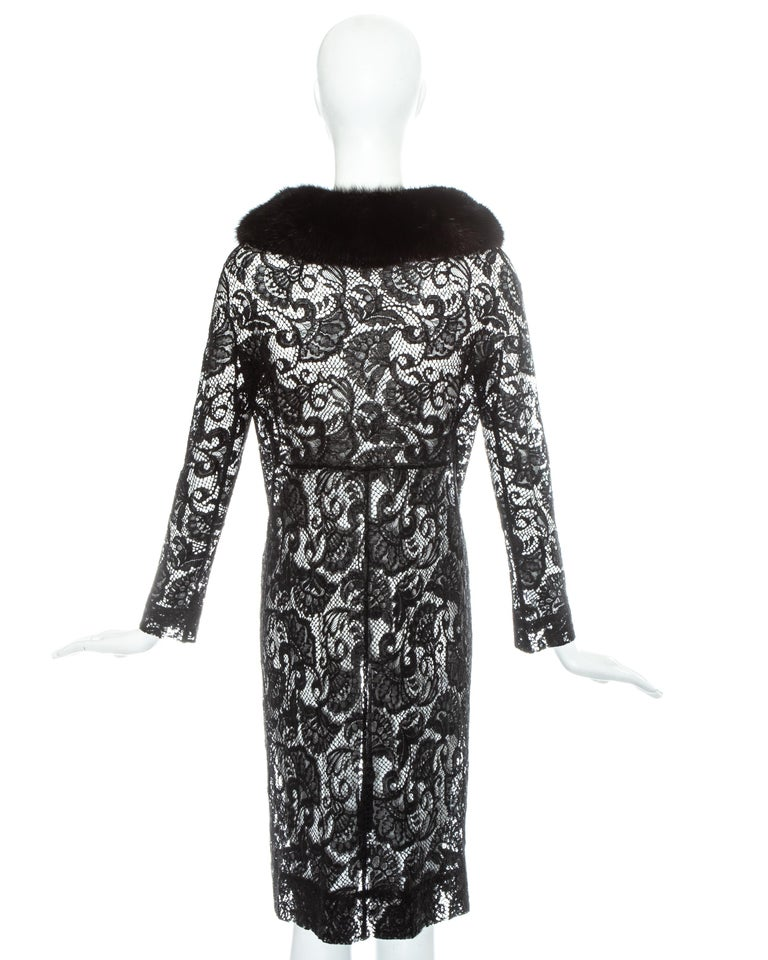 Dolce & Gabbana black lace evening coat with mink fur collar, fw 1997 For Sale 3