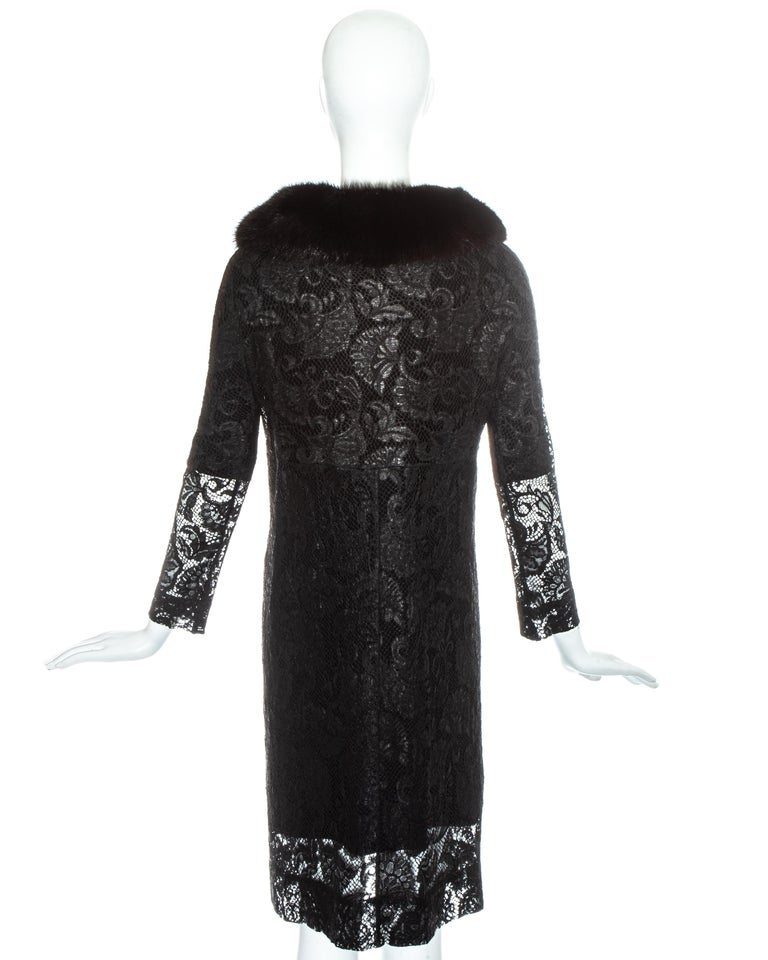 Dolce & Gabbana black lace evening coat with mink fur collar, fw 1997 For Sale 4