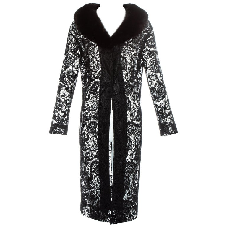 Dolce & Gabbana black lace evening coat with mink fur collar, fw 1997 For Sale