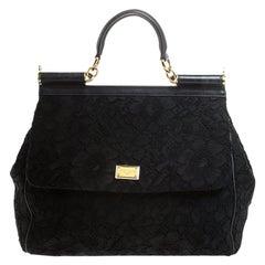 Dolce & Gabbana Black Lace Large Miss Sicily Top Handle Bag