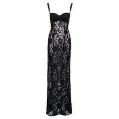 Dolce & Gabbana black lace maxi dress with attached bra, ss 1997