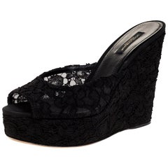 Dolce & Gabbana Black Lace Platform Wedge Sandals Sizes 38