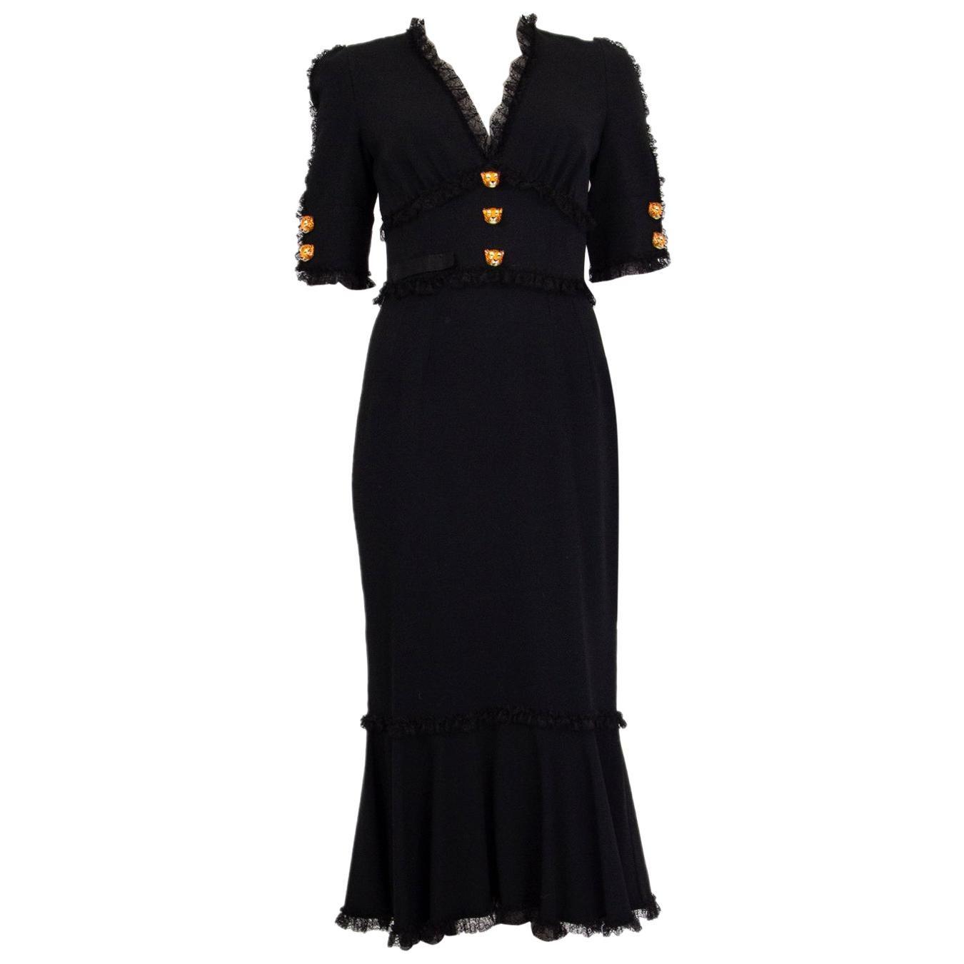 DOLCE & GABBANA black LACE TRIMMED MERMAID Dress S