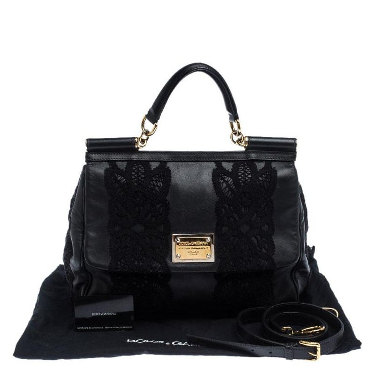 Dolce & Gabbana Black Leather and Lace Medium Soft Miss Sicily Top Handle Bag For Sale 7
