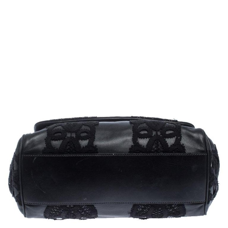 Dolce & Gabbana Black Leather and Lace Medium Soft Miss Sicily Top Handle Bag For Sale 1