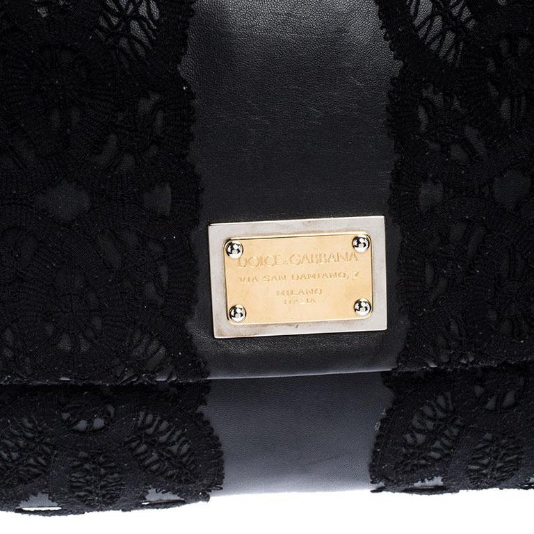 Dolce & Gabbana Black Leather and Lace Medium Soft Miss Sicily Top Handle Bag For Sale 2