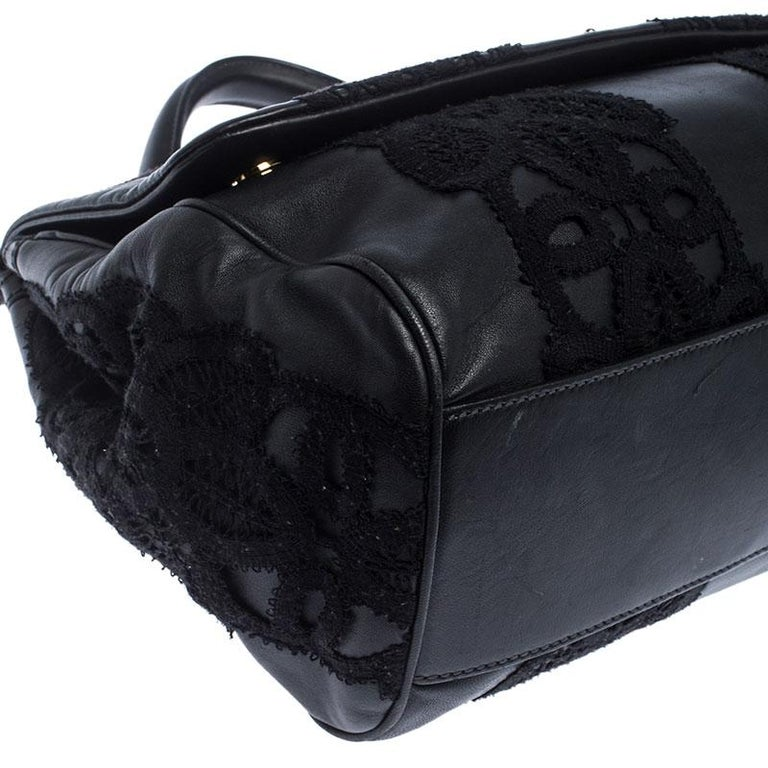 Dolce & Gabbana Black Leather and Lace Medium Soft Miss Sicily Top Handle Bag For Sale 3