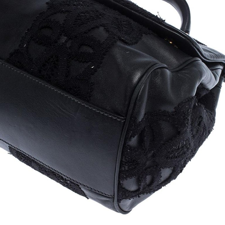 Dolce & Gabbana Black Leather and Lace Medium Soft Miss Sicily Top Handle Bag For Sale 4