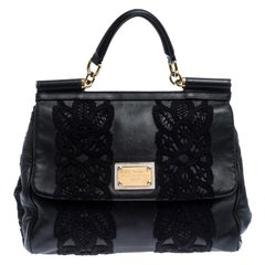 Dolce & Gabbana Black Leather and Lace Medium Soft Miss Sicily Top Handle Bag