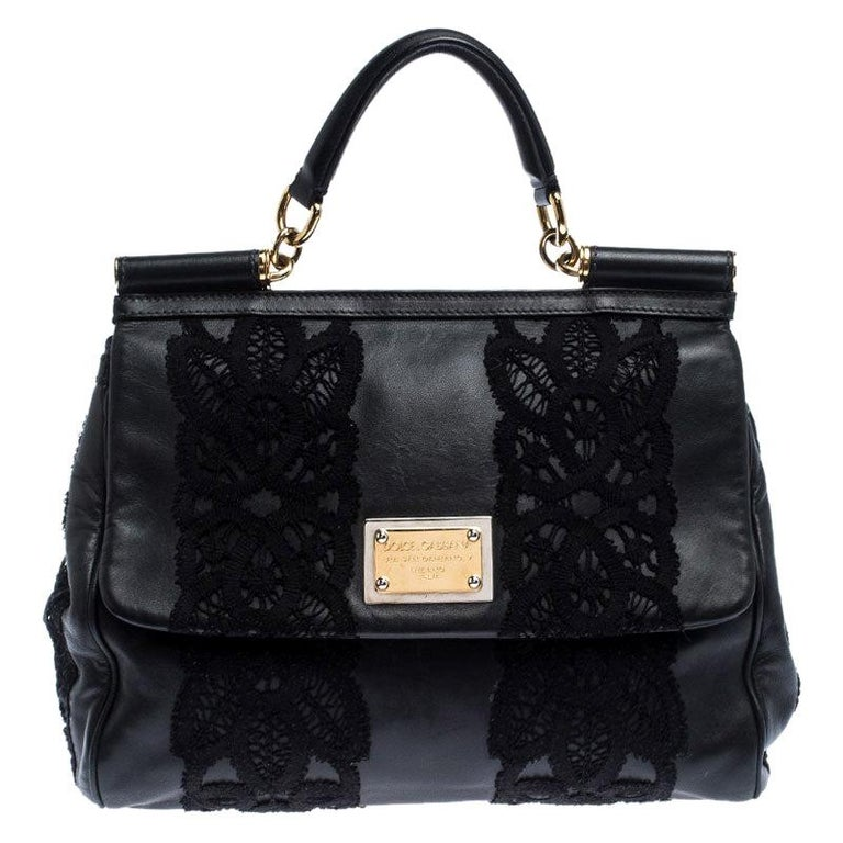 Dolce & Gabbana Black Leather and Lace Medium Soft Miss Sicily Top Handle Bag For Sale