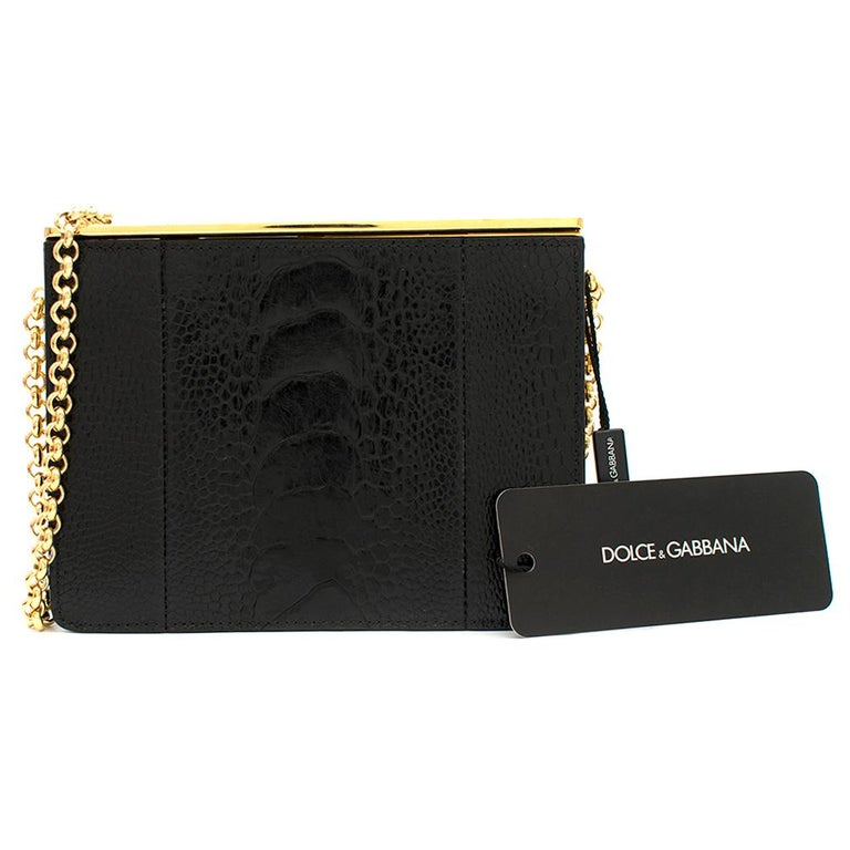 Dolce & Gabbana Black Crocodile Leather Bag  - Stylish, iconic, Italian Dolce & Gabbana pure leather handbag  - Elegantly structured handbag bag is perfect for travel and evening events with a carefully constructed gold chain strap  - Has a sleek