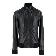 Dolce & Gabbana Black Leather Bomber Jacket SIZE EU 50