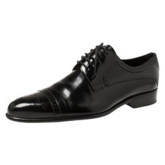 Dolce & Gabbana Black Leather Brogue Derby Size 42