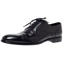 Dolce & Gabbana Black Leather Brogue Detail Derby Size 45