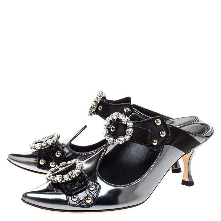 Dolce & Gabbana Black Leather Buckle Detail Pointed Toe Sandals Size 38 For Sale 1