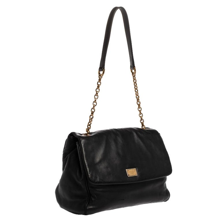 Women's Dolce & Gabbana Black Leather Chain Shoulder Bags For Sale