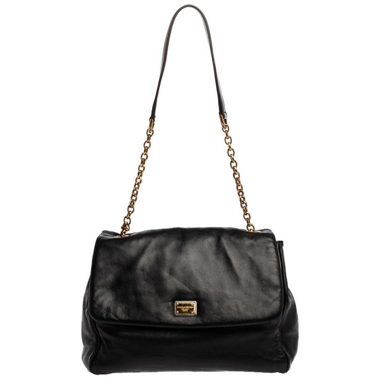 Dolce & Gabbana Black Leather Chain Shoulder Bags For Sale