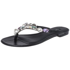 Dolce & Gabbana Black Leather Crystal Embellished Thong Flat Sandals Size 38