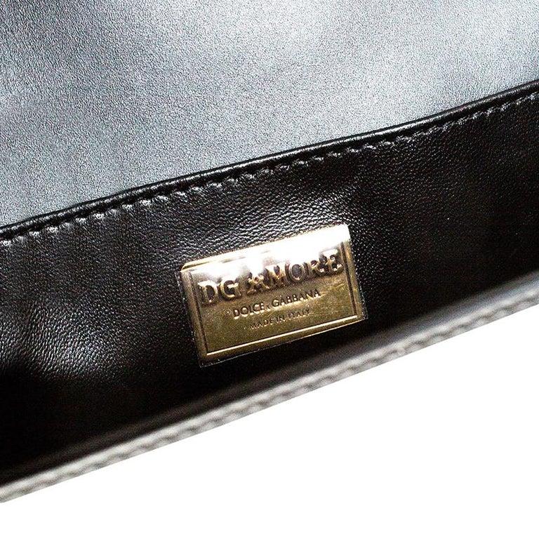 Dolce & Gabbana Black Leather DG Amore Chain Shoulder Bag For Sale 6
