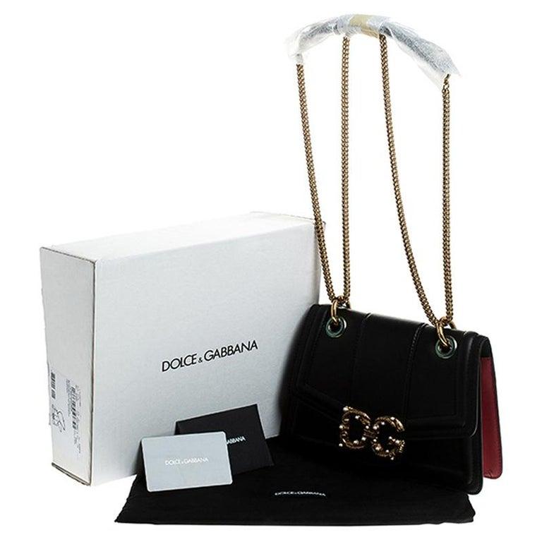 Dolce & Gabbana Black Leather DG Amore Chain Shoulder Bag For Sale 7