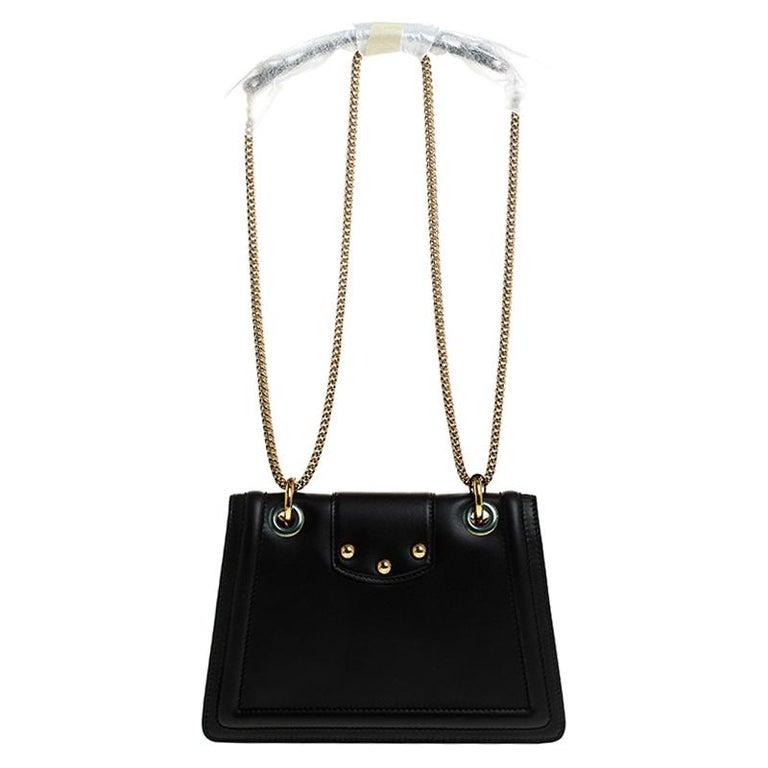 Dolce & Gabbana Black Leather DG Amore Chain Shoulder Bag For Sale 4