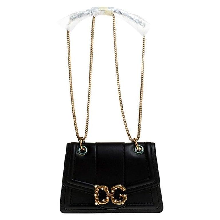 Dolce & Gabbana Black Leather DG Amore Chain Shoulder Bag For Sale