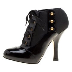 Dolce & Gabbana Black Leather Fabric Detail Lace Up Ankle Booties Size 38.5