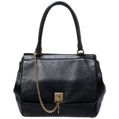 Dolce & Gabbana Black Leather Flap Satchel