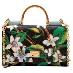 Dolce & Gabbana Black Leather Floral Print Sicily Von Wallet On Chain