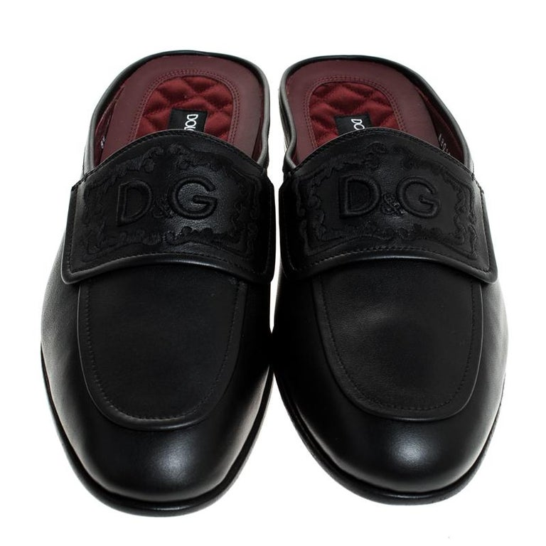 Dolce & Gabbana Black Leather King City Slip On Mule Loafers Size 42.5 In New Condition For Sale In Dubai, Al Qouz 2