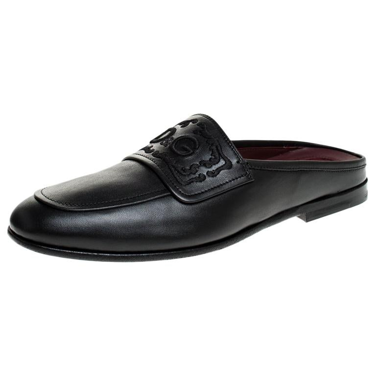 Dolce & Gabbana Black Leather King City Slip On Mule Loafers Size 42.5 For Sale