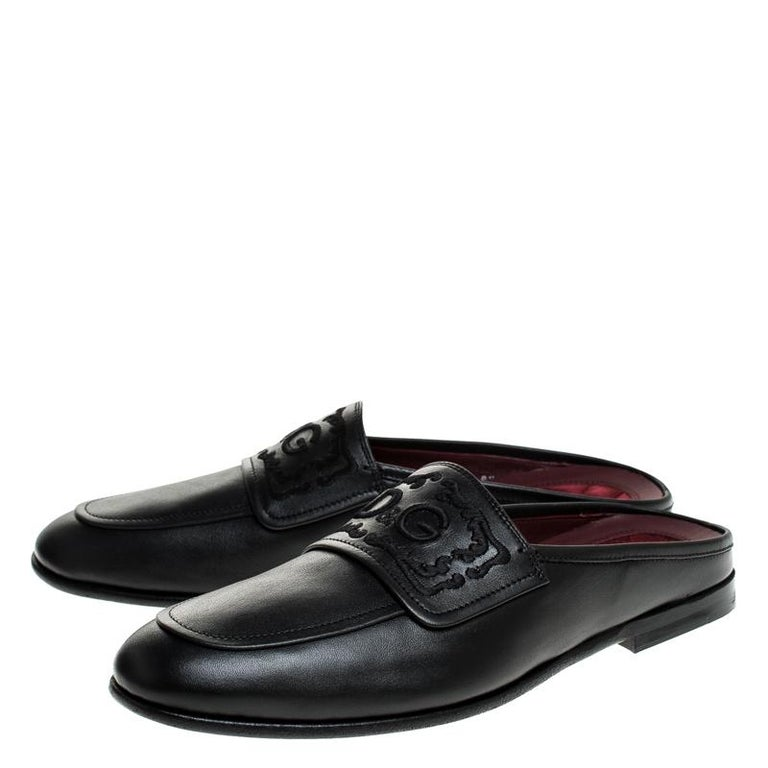 Dolce & Gabbana Black Leather King City Slip On Mule Loafers Size 43 For Sale 1