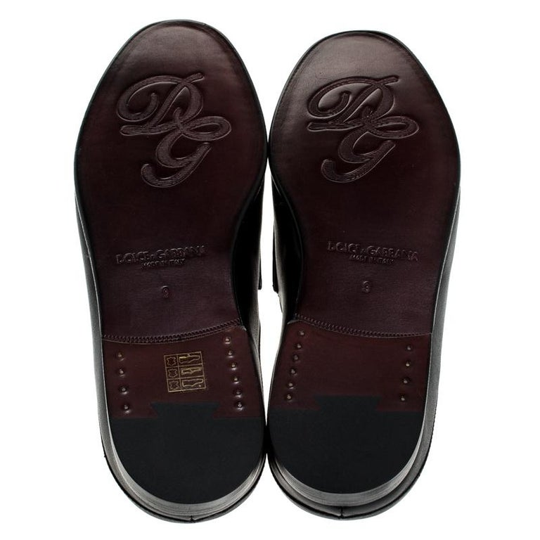 Dolce & Gabbana Black Leather King City Slip On Mule Loafers Size 43 For Sale 3