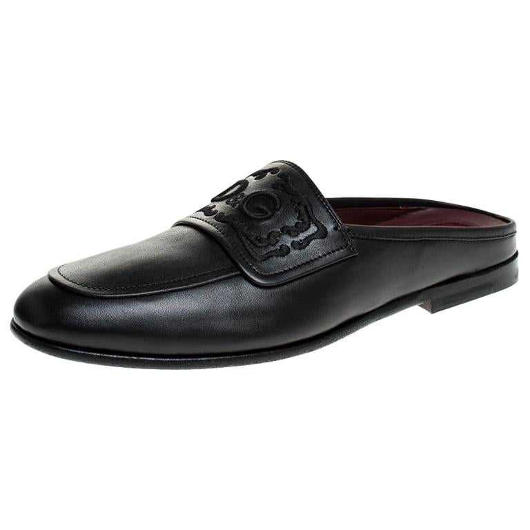 Dolce & Gabbana Black Leather King City Slip On Mule Loafers Size 43 For Sale