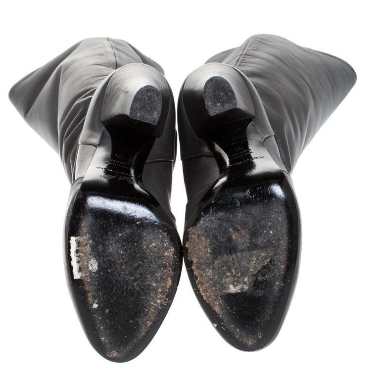 Women's Dolce & Gabbana Black Leather Knee Length Platform Boots Size 36 For Sale