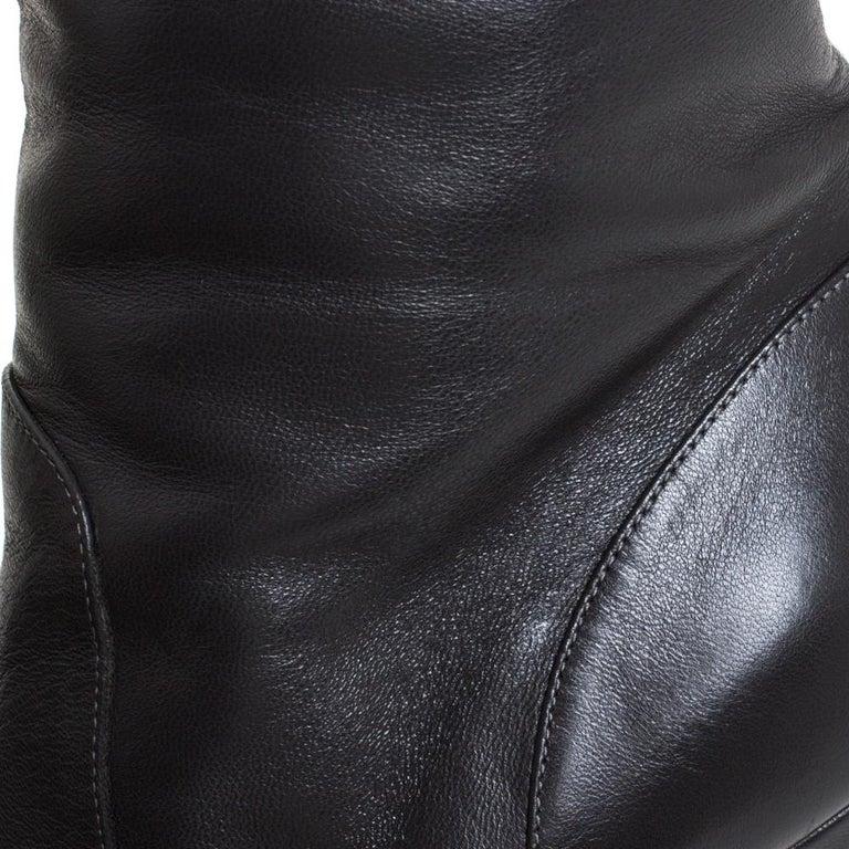 Dolce & Gabbana Black Leather Knee Length Platform Boots Size 36 For Sale 1