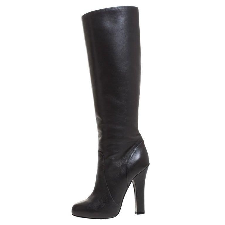 Dolce & Gabbana Black Leather Knee Length Platform Boots Size 36 For Sale 2
