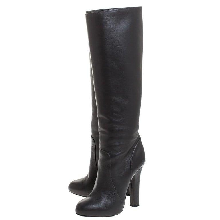Dolce & Gabbana Black Leather Knee Length Platform Boots Size 36 For Sale 3