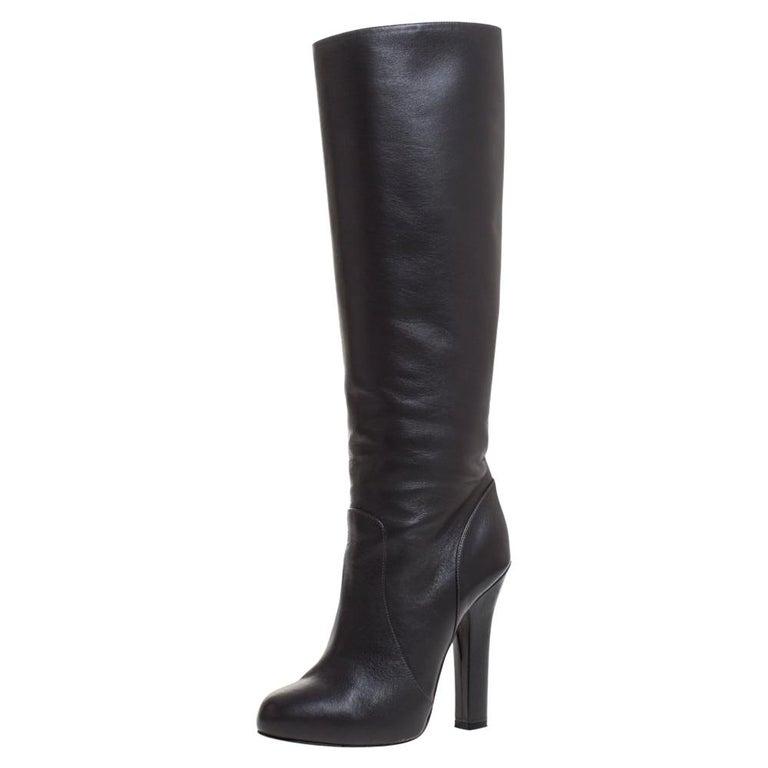 Dolce & Gabbana Black Leather Knee Length Platform Boots Size 36 For Sale