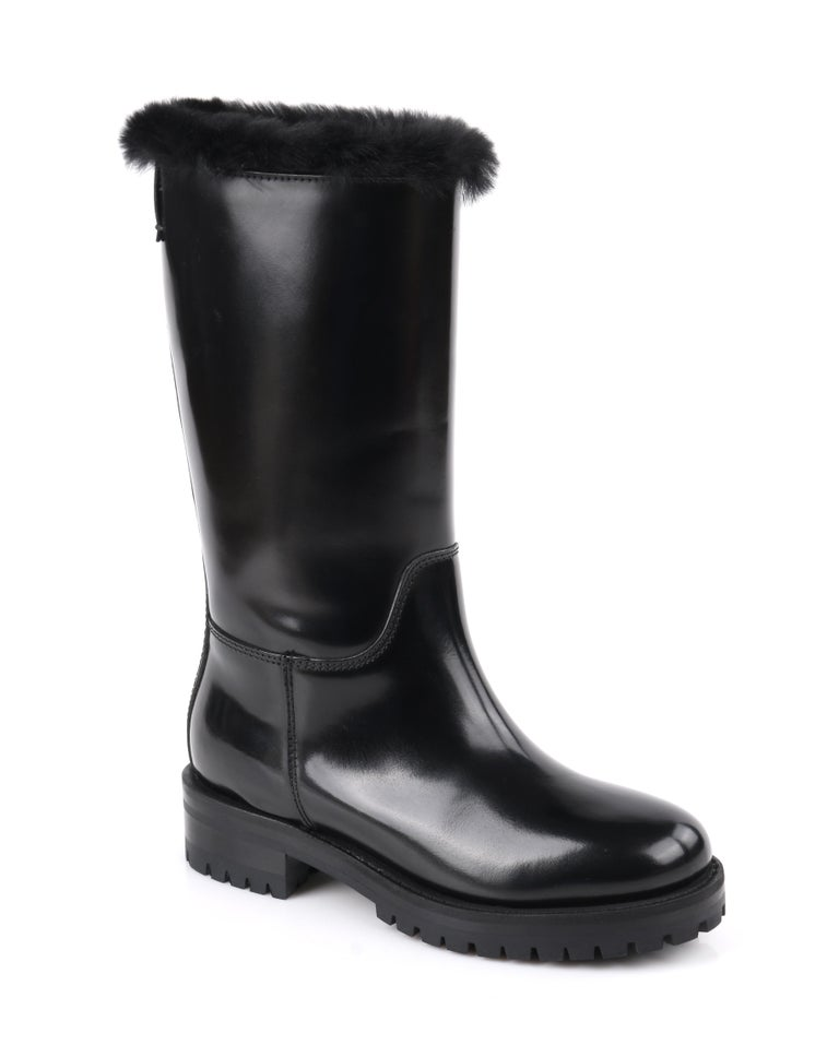 DOLCE & GABBANA Black Leather Lapin Fur Lined Calf High Moto Cold Weather Boots    Estimated Retail: $990   Brand / Manufacturer: Dolce & Gabbana  Designer: Dominico Dolce & Stefan Gabbana Style: Boots Color(s): Black  Unmarked Materials: Leather