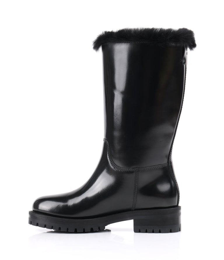 DOLCE & GABBANA Black Leather Lapin Fur Lined Calf High Moto Cold Weather Boots In New Condition For Sale In Thiensville, WI