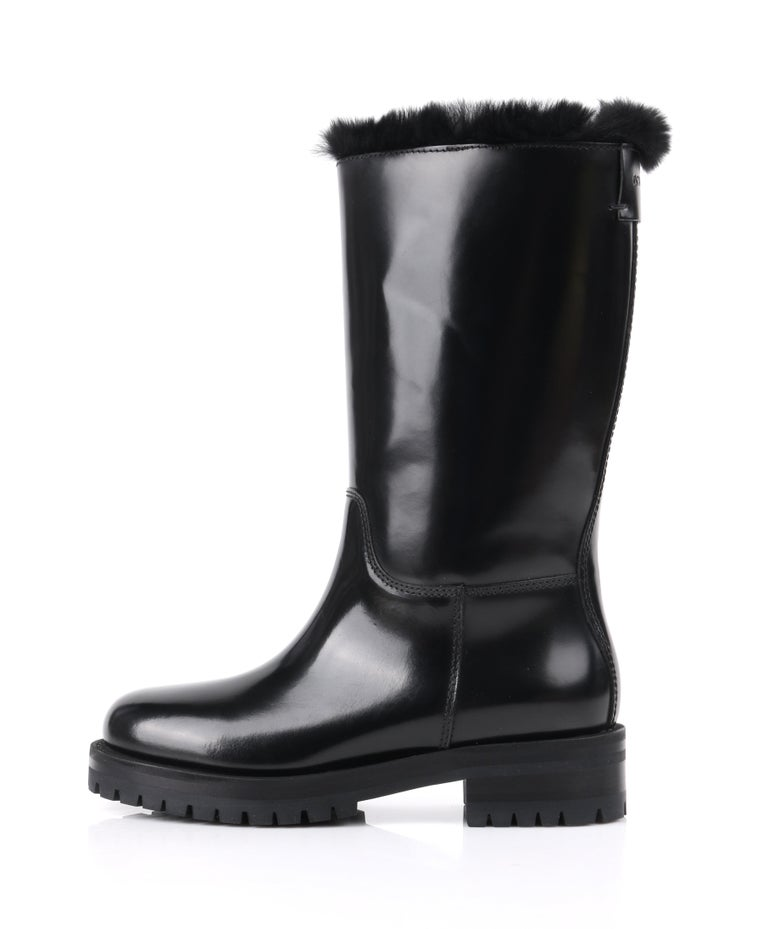Women's DOLCE & GABBANA Black Leather Lapin Fur Lined Calf High Moto Cold Weather Boots For Sale