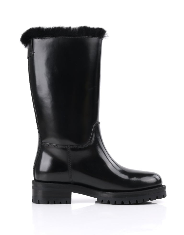 DOLCE & GABBANA Black Leather Lapin Fur Lined Calf High Moto Cold Weather Boots For Sale 1
