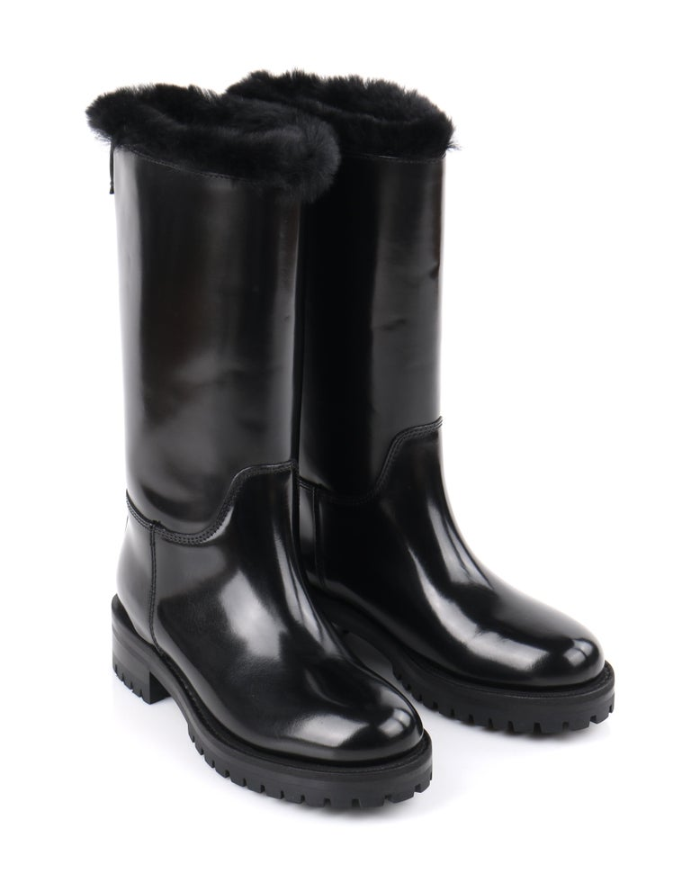 DOLCE & GABBANA Black Leather Lapin Fur Lined Calf High Moto Cold Weather Boots For Sale 2