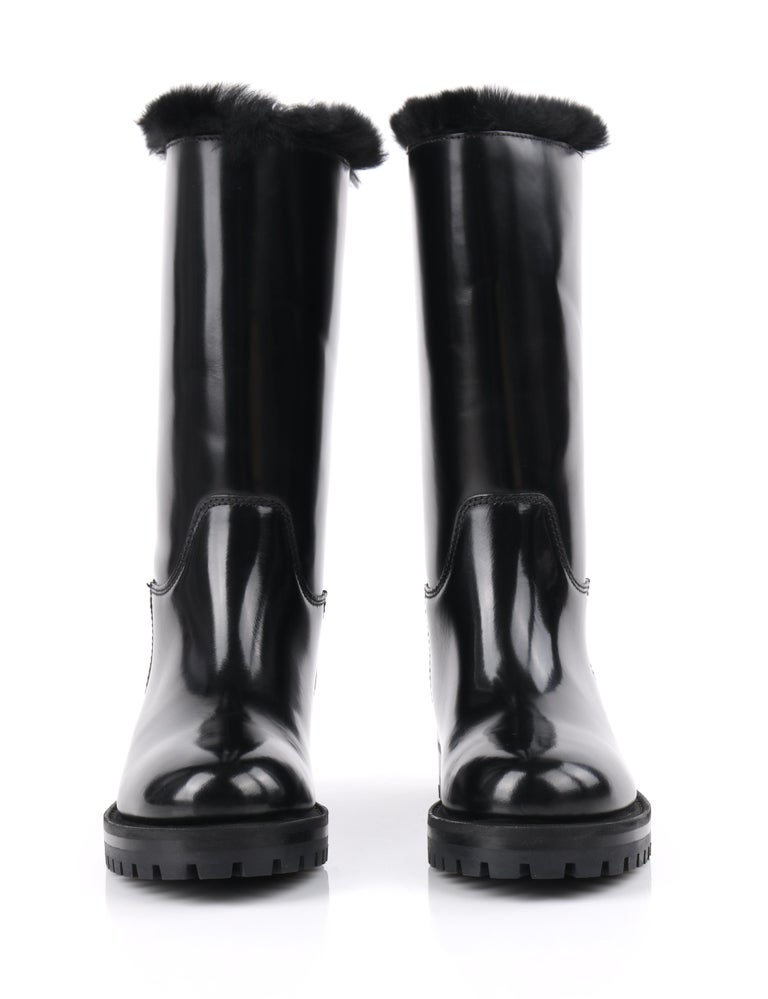 DOLCE & GABBANA Black Leather Lapin Fur Lined Calf High Moto Cold Weather Boots For Sale 3